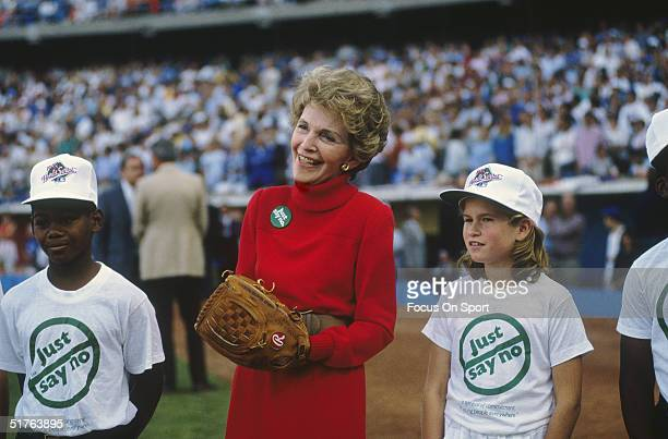 Nancy Reagan takes part in a program ceremony with Just Say No supporting kids in 1988