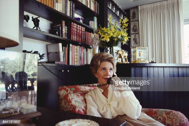 Nancy Reagan Talking on the Telephone