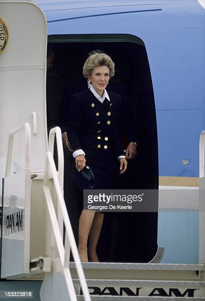 Nancy Reagan wife of US president arrives in London with her husband to meet Margaret Thatcher after the Summit of Moscow on June 2 1988