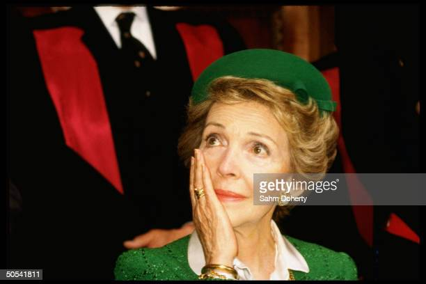 Nancy Reagan wife of US President Ronald Reagan crying during presentation of her father's portrait Dr Loyal Davis to Royal College of Surgeons