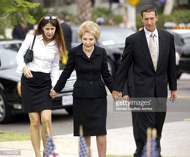 Nancy Reagan with Ron Reagan Jr and Patti Davis arrive at Gates Kingsley and Gates Moeller Murphy funeral home in Santa Monica where former President...