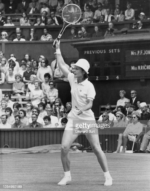 Nancy Richey of the United States makes a return before losing 62 75 to eventual champion Ann Jones of Great Britain in their Women's Singles Quarter...