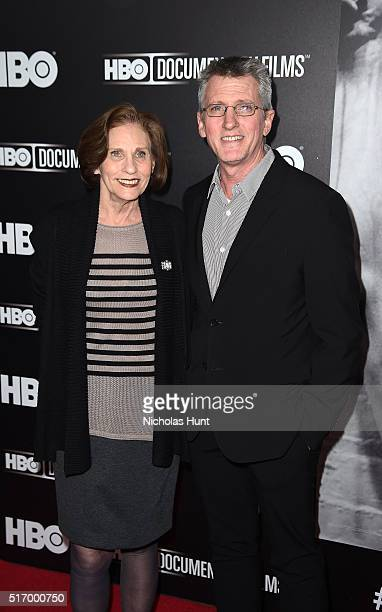 Nancy Rooney and photographer Edward Mapplethorpe attend Mapplethorpe Look At The Pictures New York Premiere at Time Warner Center on March 22 2016...