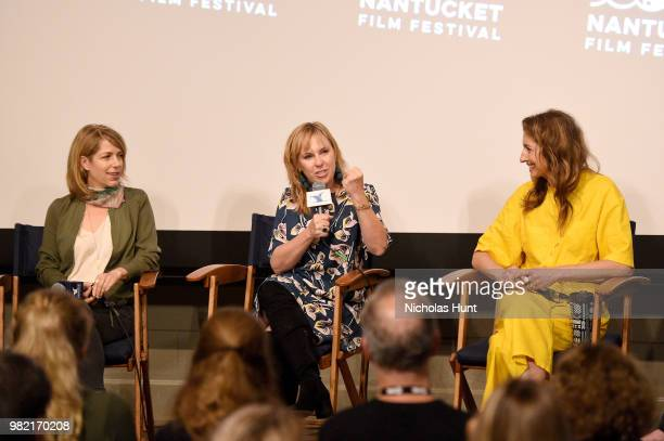 Nancy Schwartzman Miranda Bailey and Alysia Reiner speak onstage during Women Behind the Words at the 2018 Nantucket Film Festival Day 4 on June 23...