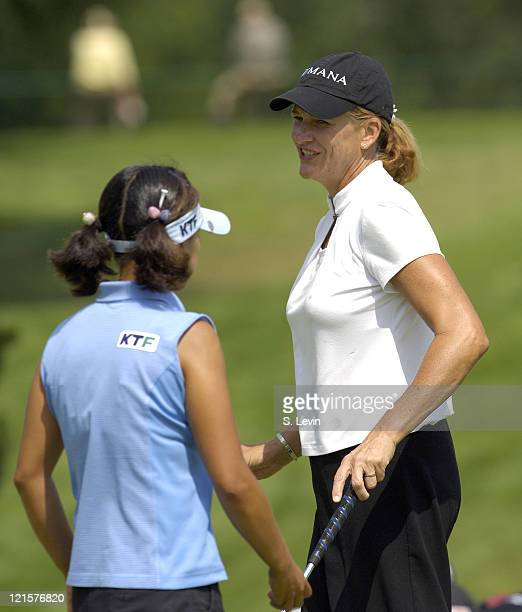Nancy Scranton and Mi Hyun Kim during the first round of the Canadian Women's Open at the London Hunt and Country Club in London Ontario on August 10...