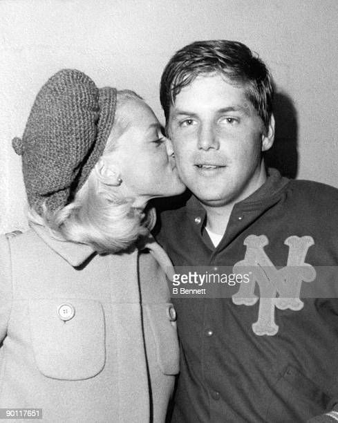 Nancy Seaver kisses her husband Tom Seaver of the New York Mets following his game against the San Diego Padres when he had 19 strikeouts at Shea...