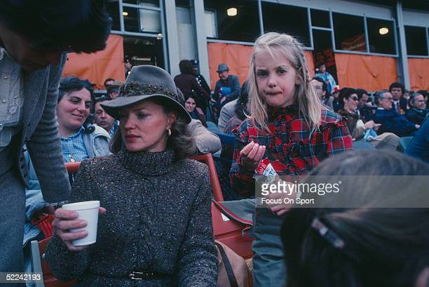 Nancy Seaver wife of New York Mets pitcher Tom Seaver sits in the stands during a game in the 1983 season