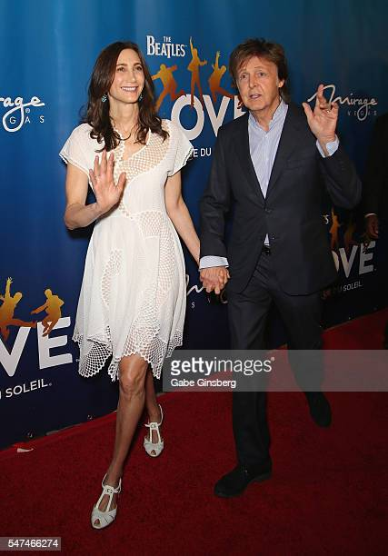 Nancy Shevell and her husband recording artist Sir Paul McCartney attend the 10th anniversary celebration of The Beatles LOVE by Cirque du Soleil at...