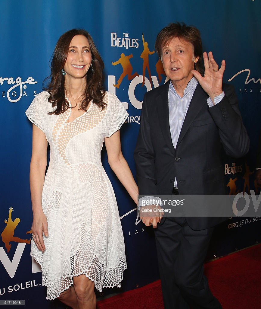 Nancy Shevell (L) and her husband, recording artist Sir Paul McCartney, attend the 10th anniversary celebration of 'The Beatles LOVE by Cirque du Soleil' at The Mirage Hotel & Casino on July 14, 2016 in Las Vegas, Nevada.