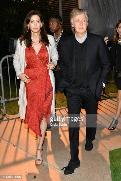 "Nancy Shevell and Paul McCartney at Casamigos Presents Sports Illustrated ""The Party"" at Fontainebleau Hotel on February 01, 2020 in Miami Beach,..."