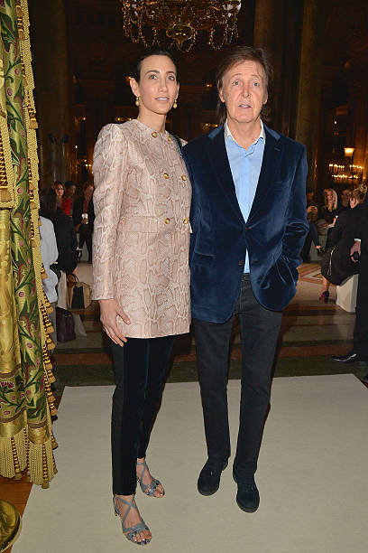 Nancy Shevell And Paul McCartney Attend The Stella Show As Part Of Paris Fashion