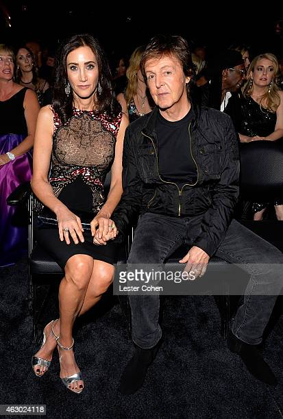 Nancy Shevell and singersongwriter Paul McCartney during The 57th Annual GRAMMY Awards at the STAPLES Center on February 8 2015 in Los Angeles...