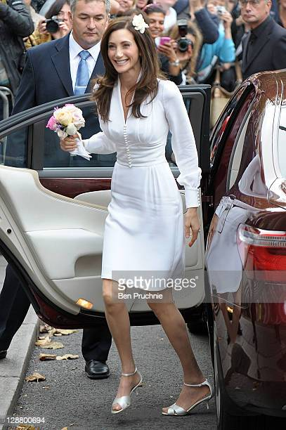 Nancy Shevell arrives at Marylebone Registry Office for her civil ceremony marriage to Sir Paul McCartney on October 9, 2011 in London, England.