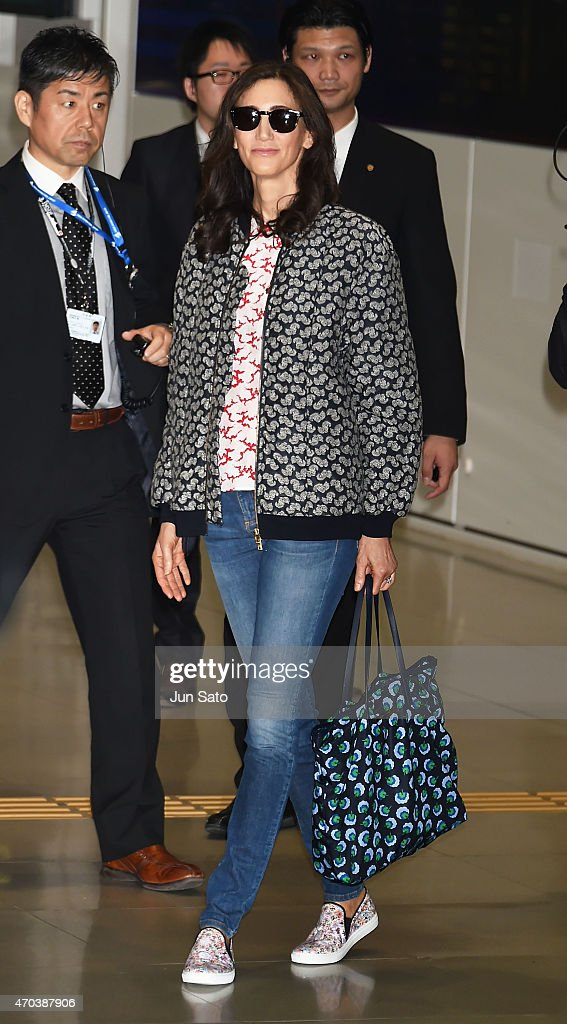 Nancy Shevell is seen upon arrival at Kansai International Airport on April 20, 2015 in Izumisano, Japan.