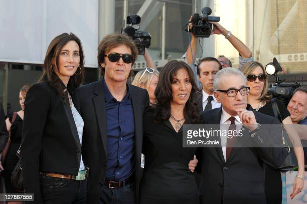 Nancy Shevell, Sir Paul McCartney, Olivia Harrison and Martin Scorsese attends the 'George Harrison: Living In The Material World' film documentary...
