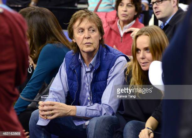 Nancy Shevell, Sir Paul McCartney, Stella McCartney attend the NBA Live basketball match between the Brooklyn Nets and Atlanta Hawks at the 02 Arena...