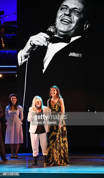 Nancy Sinatra and daughter Amanda Lambert speak at the curtain call during the press night performance of 'Sinatra At The London Palladium' at the...