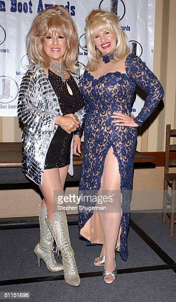 Nancy Sinatra impersonator Terry Anfuso and Dolly Parton impersonator Charlene RoseMasuda attend the Golden Boot Awards at the Sheraton Universal...