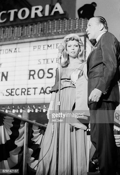 Nancy Sinatra with Ed Sullivan at the premier of 'The Last of the Secret Agents ' 1966 New York