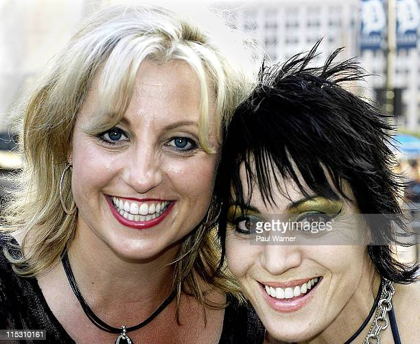 Nancy Skinner and Joan Jett during Vans Warped Tour at Comerica Park in Detroit July 29 2006 at Comerica Park parking lot in Detroit Michigan United...