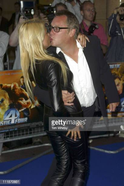 Nancy Sorell and Vic Reeves during Fantastic Four London Premiere at Leicester Square in London Great Britain