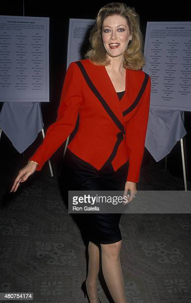 Nancy Stafford attends 27th Annual Publicists Guild of Awerica Awards on March 23 1990 at the Beverly Hilton Hotel in Beverly Hills California