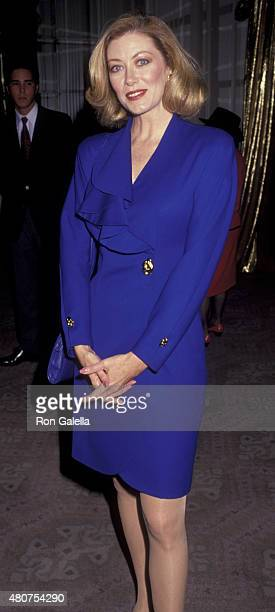Nancy Stafford attends 50th Annual Golden Apple Awards on December 9 1990 at the Beverly Hilton Hotel in Beverly Hills California