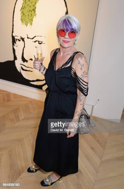 Nancy Stannard attends the Bansky 'Greatest Hits 20022008' exhibition VIP preview at Lazinc on July 9 2018 in London England
