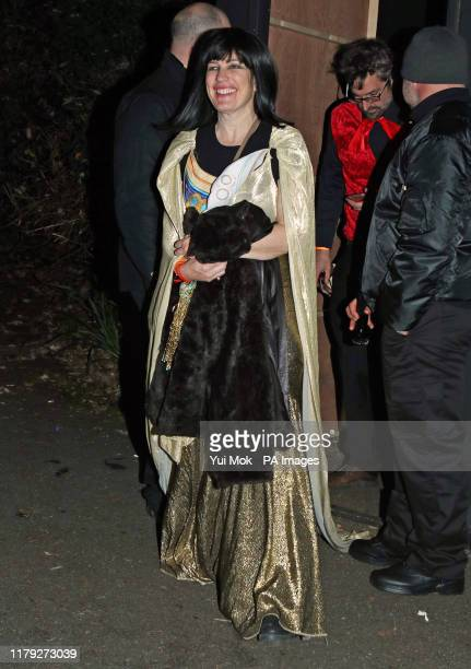 Nancy Strang wife of Louis Theroux leaving a Halloween party hosted by Jonathan Ross at his house in north London