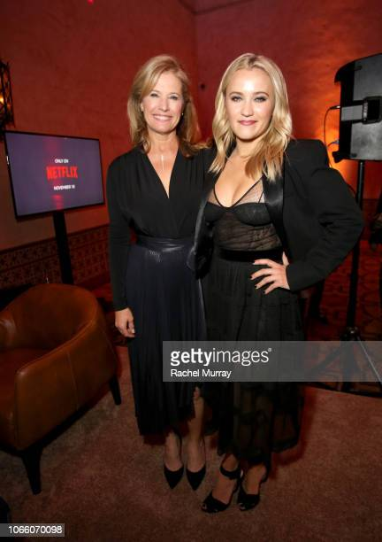 Nancy Travis and Emily Osment attend the Los Angeles Premiere of 'The Kominsky Method ' at AFI Fest at The Roosevelt Hotel on November 10 2018 in...