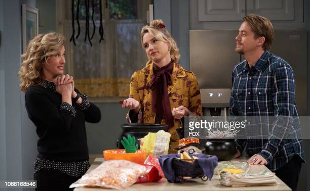Nancy Travis Molly McCook and Christoff Sanders in the Bride of Prankenstein episode of LAST MAN STANDING airing Friday Oct 19 on FOX