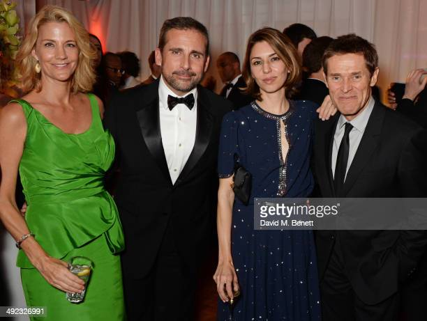 Nancy Walls Steve Carell Sofia Coppola and Willem Dafoe attend the 'Foxcatcher' party hosted by Annapurna at Baoli Beach during the 67th Cannes Film...