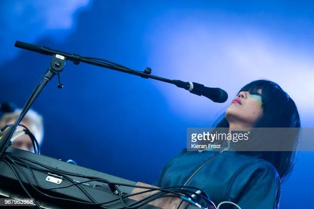 Nancy Whang of LCD Sound System performs at Malahide Castle on June 5 2018 in Dublin Ireland