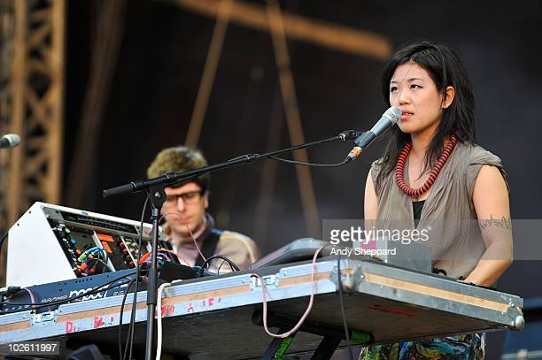 Nancy Whang of LCD Soundsystem performs on stage during the second day of Wireless Festival 2010 in Hyde Park on July 3 2010 in London England