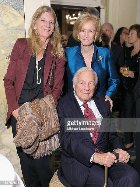 Nancy Whitehead and Honoree John C Whitehead pose with a guest at the annual Freedom Award Benefit hosted by the International Rescue Committee at...
