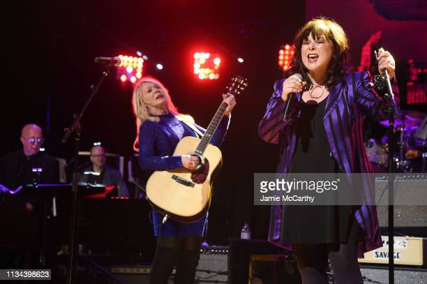 Nancy Wilson and Ann Wilson of Heart performs onstage during the Third Annual Love Rocks NYC Benefit Concert for God's Love We Deliver on March 07,...