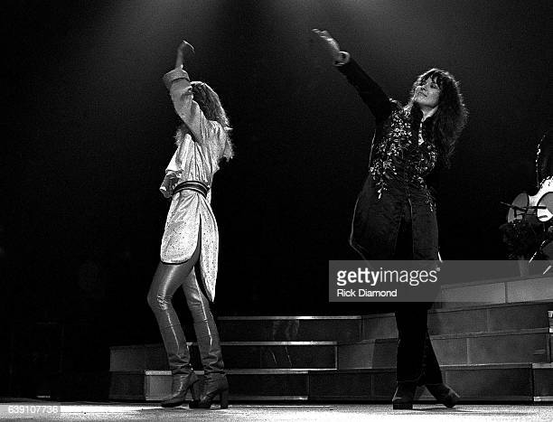 Nancy Wilson and Ann Wilson of Rock group Heart performs at The Omni Coliseum in Atlanta Georgia September 28 1978