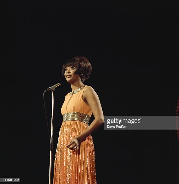 Nancy Wilson US jazz singer in concert singing into a microphone circa 1970