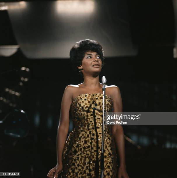 Nancy Wilson US jazz singer in concert singing into a microphone circa 1970