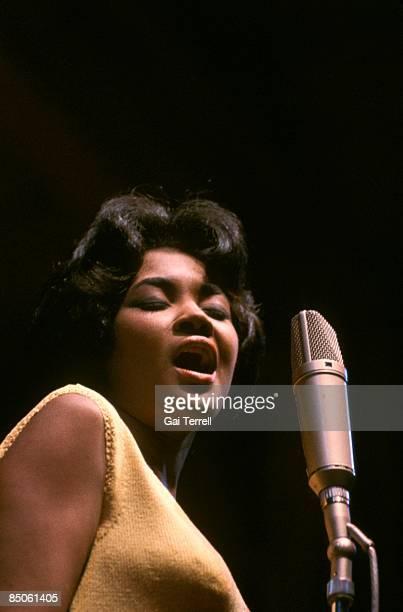 Nancy Wilson US jazz singer in concert singing into a microphone circa 1965