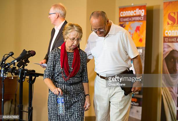 Nancy Writebol the SIM USA missionary who recovered from Ebola Virus Disease contracted in Liberia leaves with her husband David after a news...