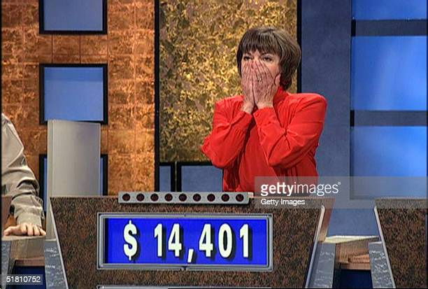Nancy Zerg reacts after beating Ken Jennings during a taping of the game show Jeopardy September 7 2004 in Culver City California Jennings finally...