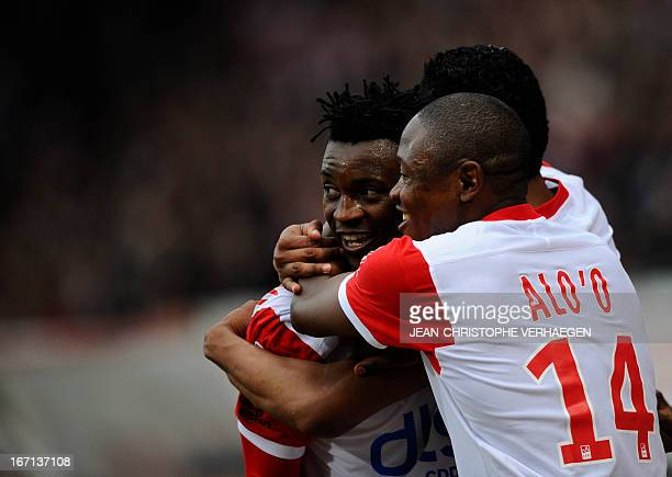 Nancy's Cameroonian forward Benjamin Moukandjo celebrates with Nancy's Cameroonian forward Paul Alo'o Efoulou during their French L1 football match...