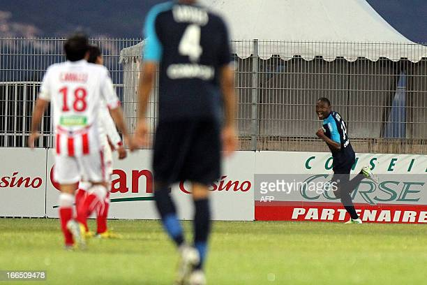 Nancy's Cameroonian forward Paul Alo'o Efoulou celebrates after scoring during the French L1 football match Ajaccio vs Nancy at the Francois Coty...