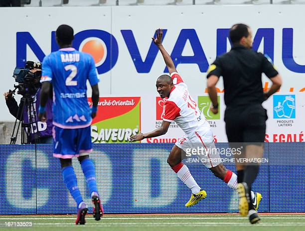 Nancy's Cameroonian forward Paul Alo'o Efoulou celebrates after scoring against Evian during the French L1 football match Nancy vs Evian on April 21...