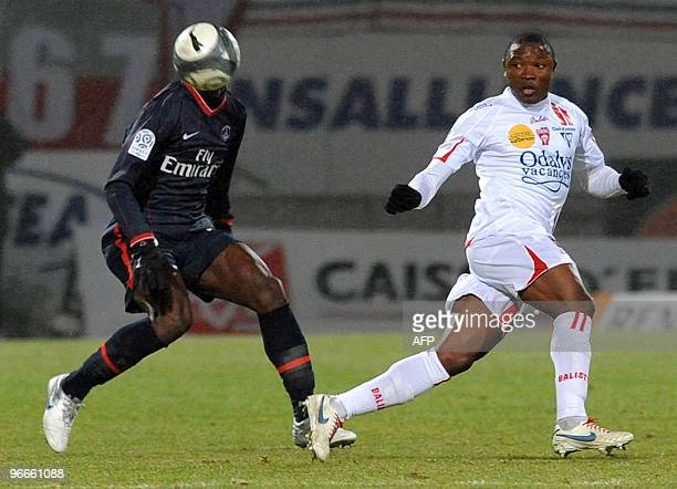 Nancy's forward Paul Alo'O Efoulou vies with Paris Saint Germain's defender Zoumana Camara during the French L1 football match at the Marcel Picot...