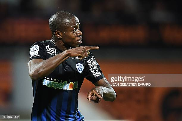 Nancy's French forward Junior Dale celebrates after scoring a goal during the French L1 football match between Lorient and Nancy on September 10,...