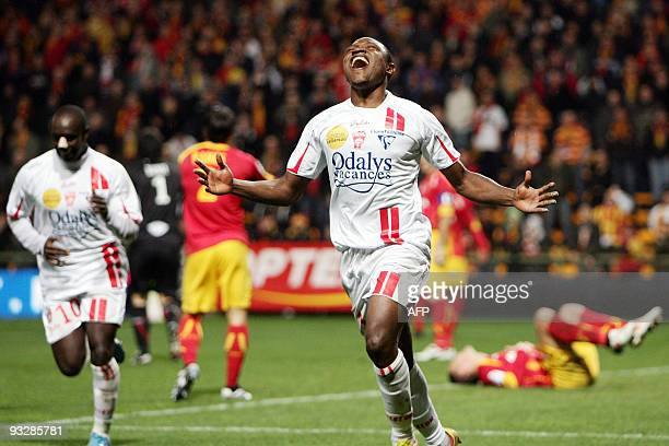 Nancy's Paul Alo'o Efoulou celebrates after scoring during the French L1 football match Lens vs Nancy on November 21 2009 at the FelixBollaert...