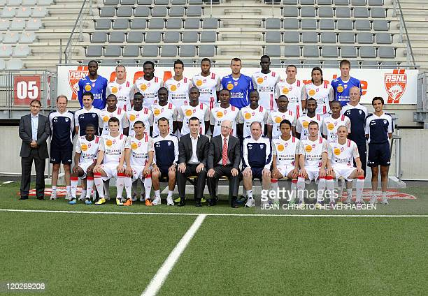 Nancy's players pose for the 20112012 season official picture on August 2 2011 at Marcel Picot Stadium in Tomblaine eastern France LtoR 1rst row...