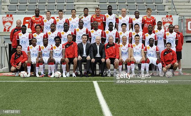 Nancy's players pose for the 20122013 season official picture on August 2 2012 at Marcel Picot Stadium in Tomblaine eastern France Goalkeeper's coach...